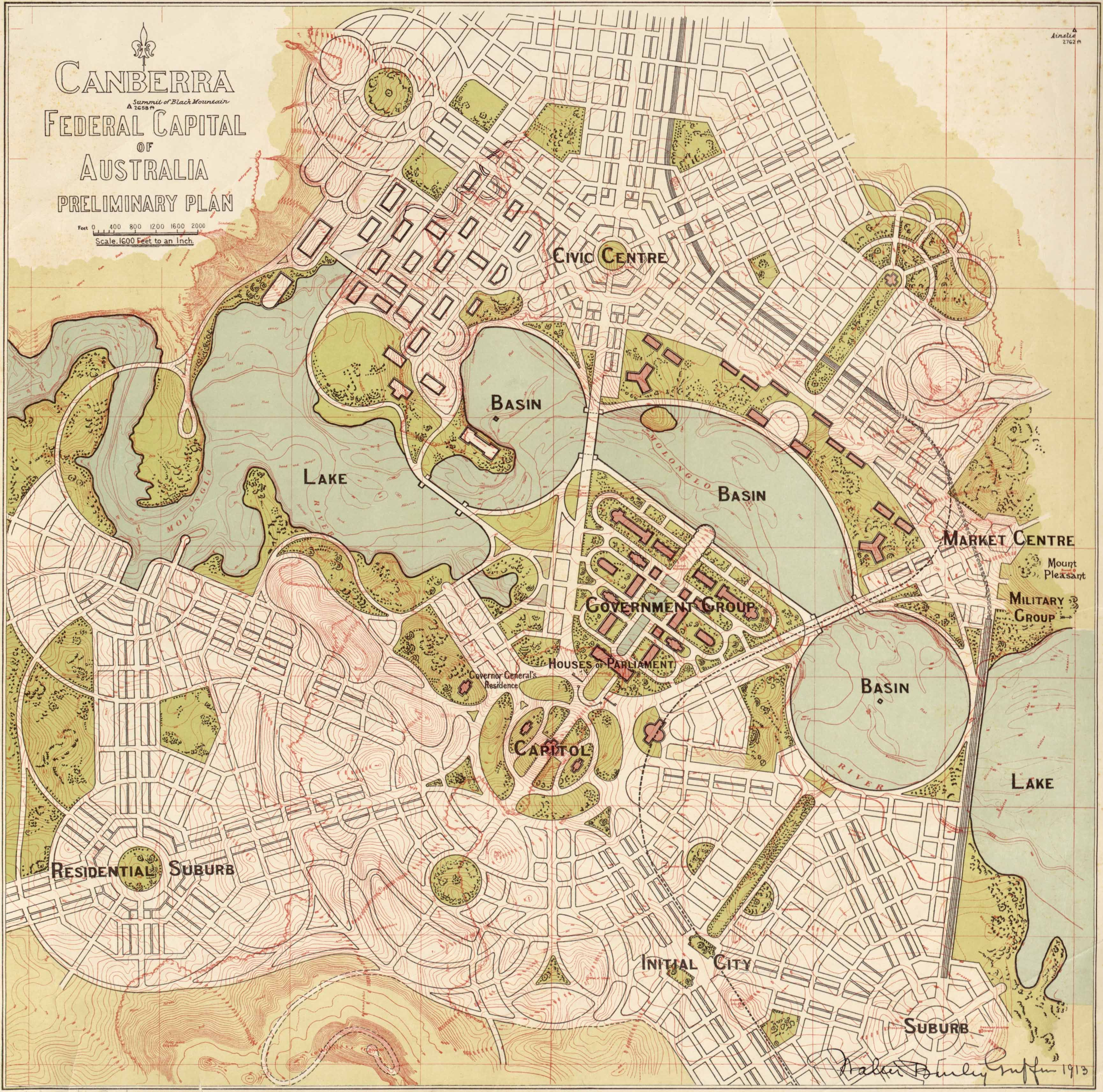 Canberra preliminary plan by WB Griffin 1913 #map #canberra #australia