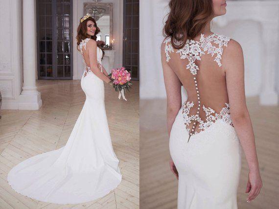 d7f8cd92e55 Laconic skinny mermaid wedding dress