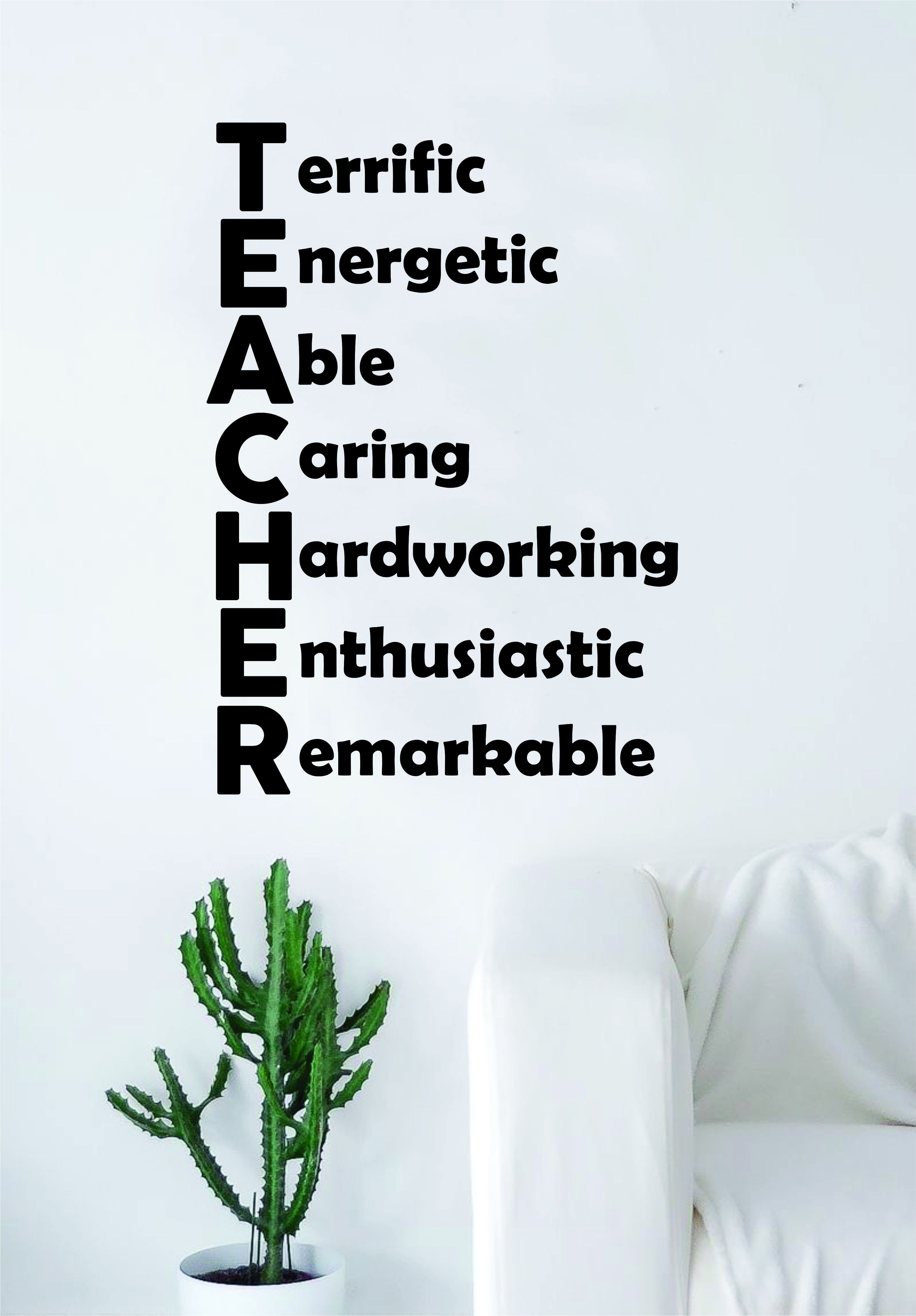 Teacher Acronym Quote Decal Sticker Wall Vinyl Decor Art Living Room Bedroom Class Classroom Students Education Science - green