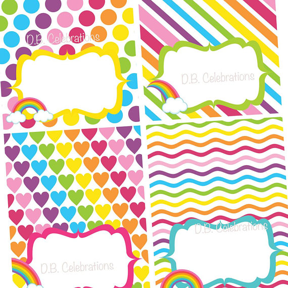 Rainbow Printable Food Labels, Table Tents, Buffet Table