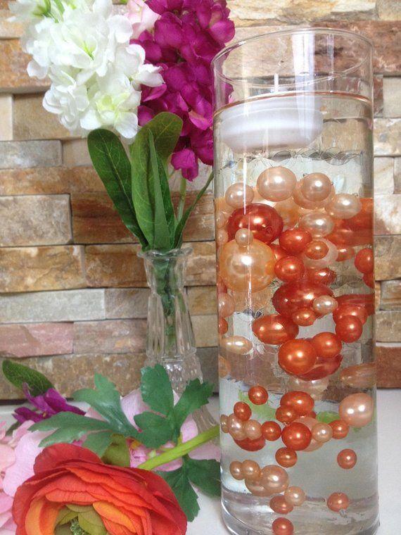 floating pearl centerpiece peach coral orange pearls 80pc mix rh pinterest com