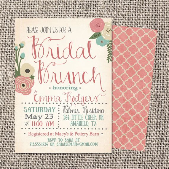 Bridal Shower Invitation, Bridal Shower Invite, Bridal Shower Printable, Bridal Brunch Invitation DIGTAL FILE