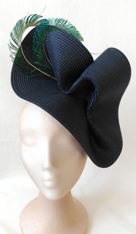 Navy blue hat-Blue wedding hat-Peacock fascinators by Tocchic  58b169a87f3