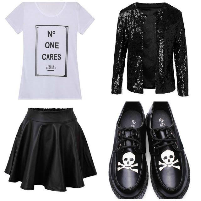 glitter jacket skater skirt #skulls #creepers #alternative #outfit festival ideas