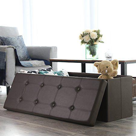 Amazon Com Songmics 43 Quot Faux Leather Folding Storage