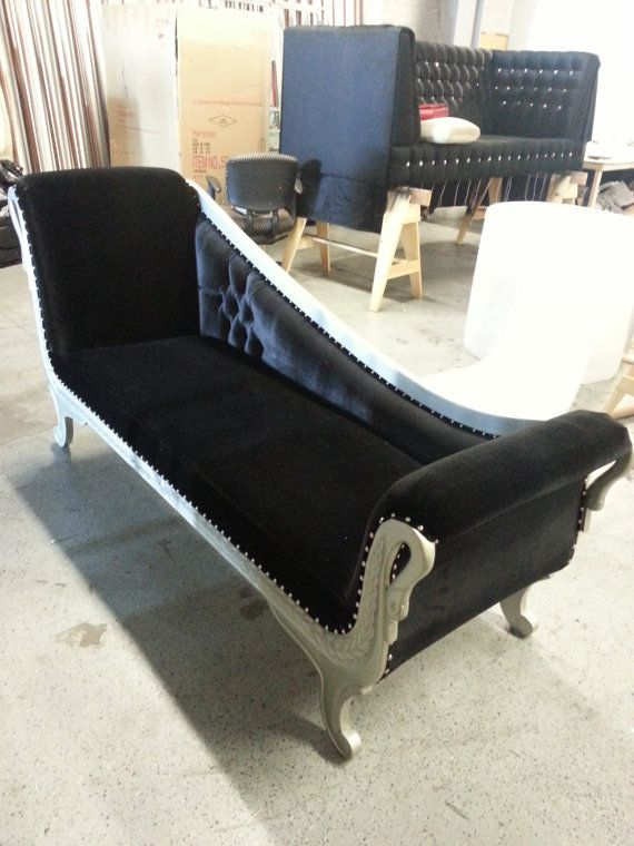 Black velvet button tufted Hollywood glam chaise lounge settee solid mahogany hand carved one-of-a-kind chaise lounge loveseat L.A. made : button tufted chaise - Sectionals, Sofas & Couches