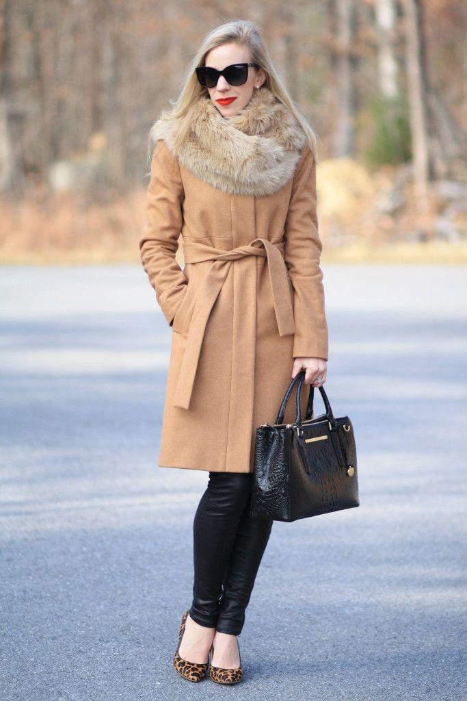 Moda a Roma: Camel wool wrap coat, faux fur snood, camel fur scarf ...