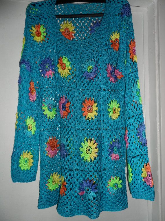 Crochet granny square turquoise blue multicolour flowers gipsy hippie boho long sleeves sweater OOAK Ready to ship!