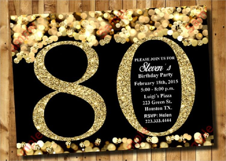 80th Birthday Invitations Templates Free