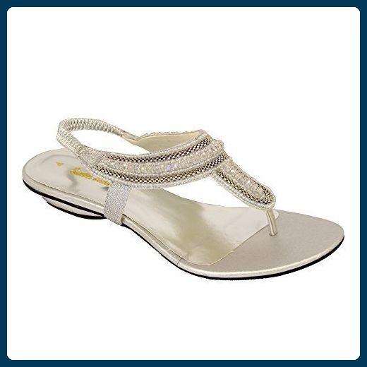Damen Sandalen Damen Glitzersteine Slip On Schuhe Tanga Zehentrenner  Brautjungfern Sommer - Silber - sh3281, 42b1ded173