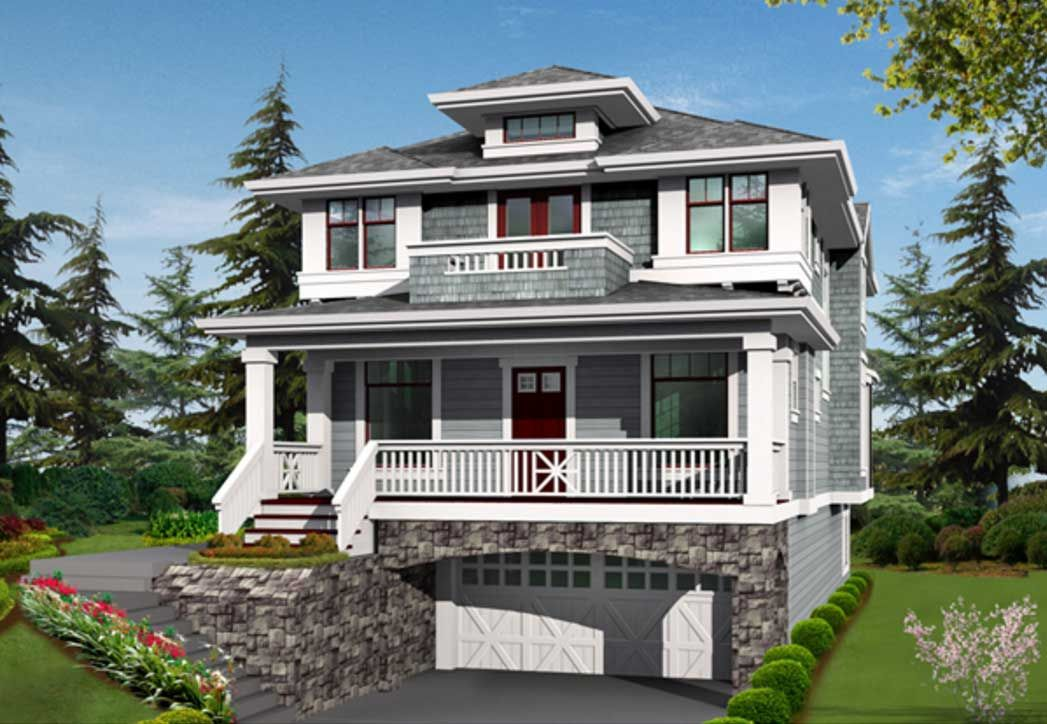 Two story house plans with balconies and underground for Underground garage plans