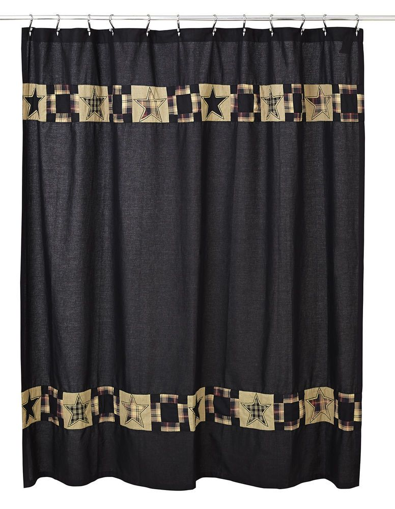 Revere Patchwork Shower Curtain Olivias Heartland Black Star Plaid