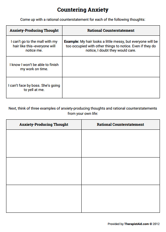 Countering Anxiety Thought Log Worksheet