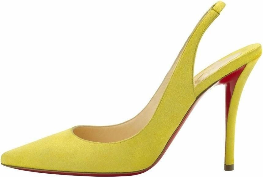 Lea Michele wearing Christian Louboutin Apostrophy Sling in Yellow. Mens  New Years Eve Outfit 3a97116e1