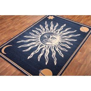Shiraz Sun Moon Stars Navy Blue Rug 5000 P11 Soleil Lune