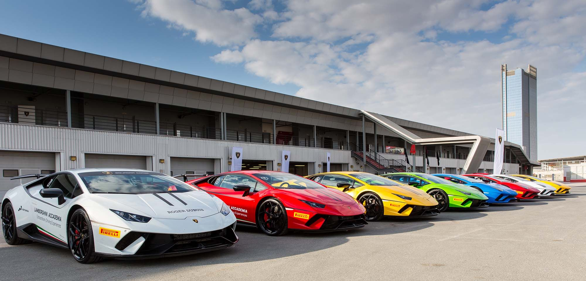 Dream Parking Lot For A Petrol Head The Lamborghini Track Day At Dubai Autodrome Official Phot Photography And Videography Lamborghini Commercial Photography