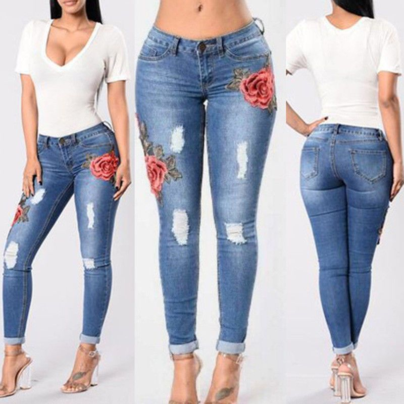 Womens Floral High Waist Skinny Trousers Jeggings Denim Pants Jeans Plus Size UK