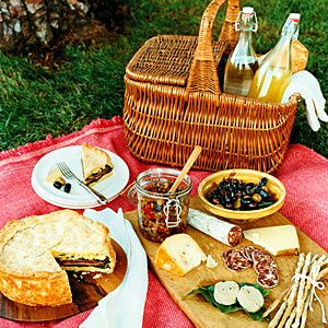 Italian picnic with wine, cheese, olives, salami, and a layered Torta. YUM! :P