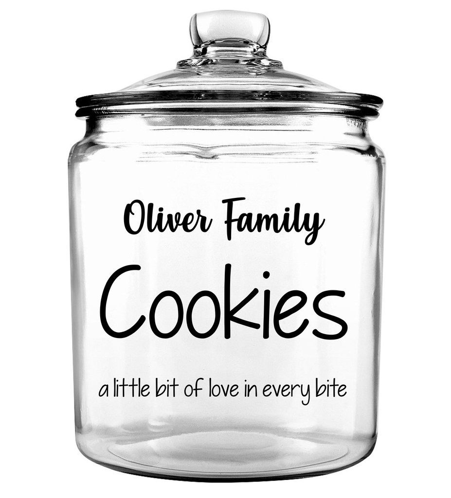 Family Glass Cookie Jar Personalized Cookie Jar Glass Cookie Jars Christmas Cookie Jars