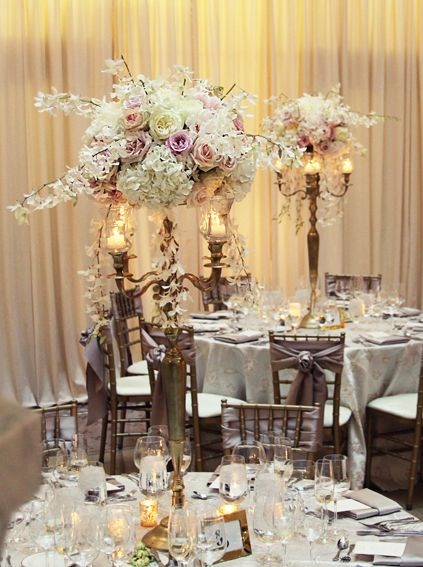 wedding decorations and favors gold candelabra centerpieces with lush spray roses 9079