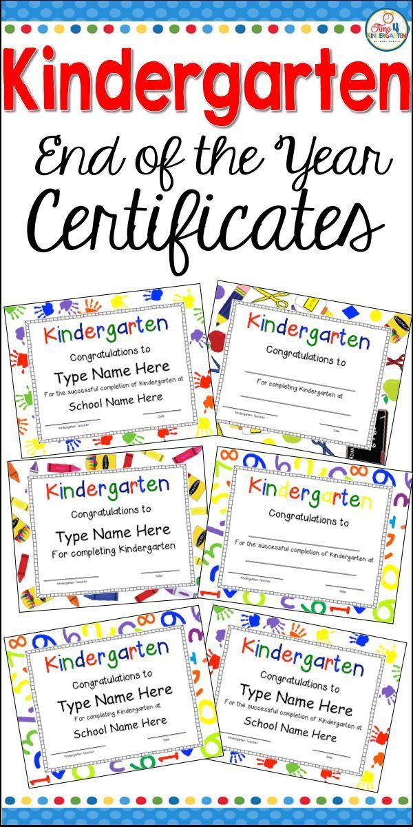 Kindergarten Certificates Completion Diploma Editable Pinterest