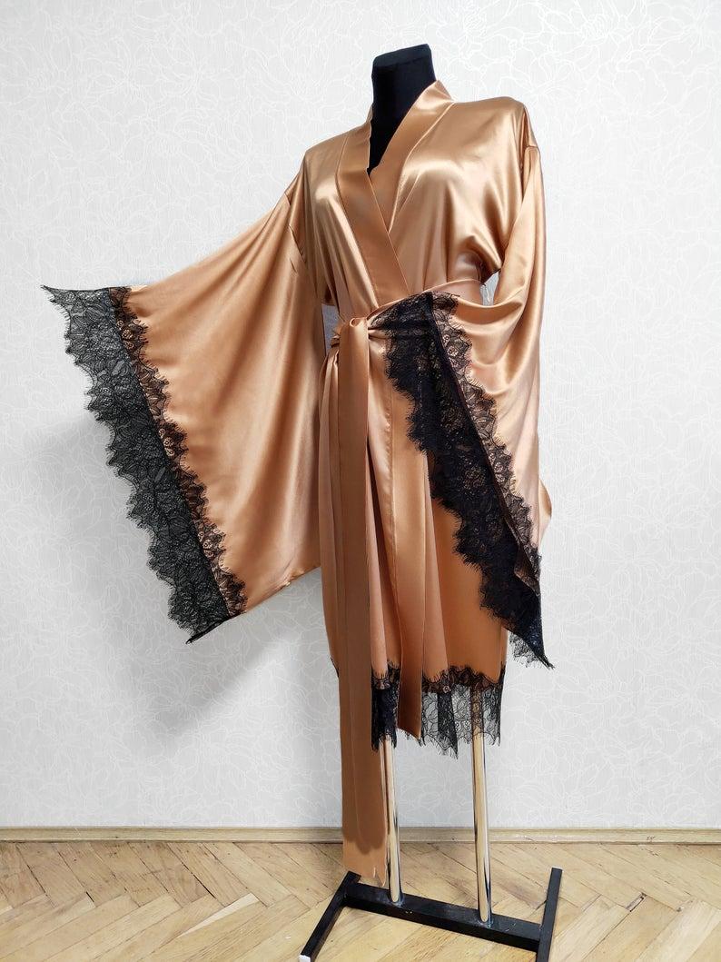 Silk Lace Robe Gold Kimono Robe Silk Bride Robe Black Lace Robe Floor Length Robe Satin Dressing Gown 24 Colors Mulberry Silk Silk Kimono Robe Elegant Kimono Silk Bridal Robe