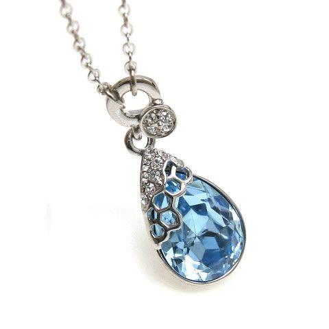 Mermaid teardrop swarovski necklace my style pinterest mermaid mermaid teardrop crystal necklace aquamarine or diamond aloadofball Image collections