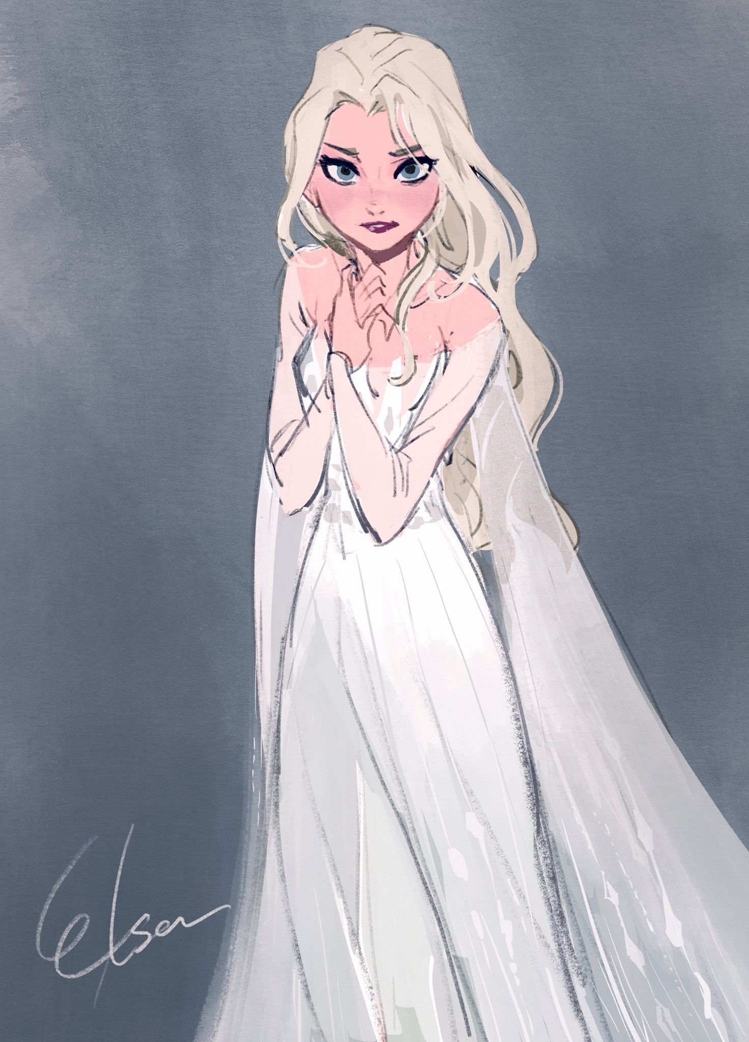 Elsa With Her Hair Down Disney Fan Art Frozen Art Disney Art