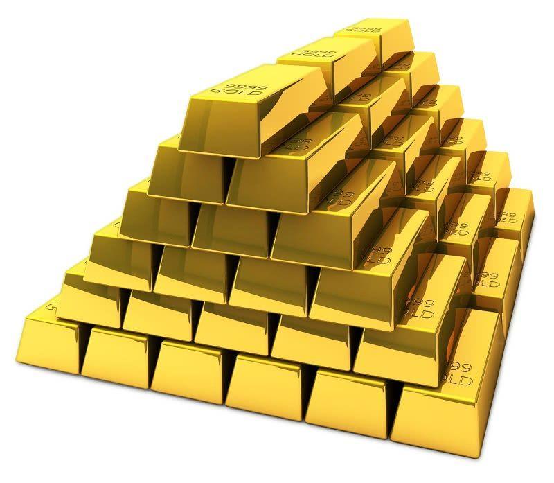 Gold Bricks Stacked Money