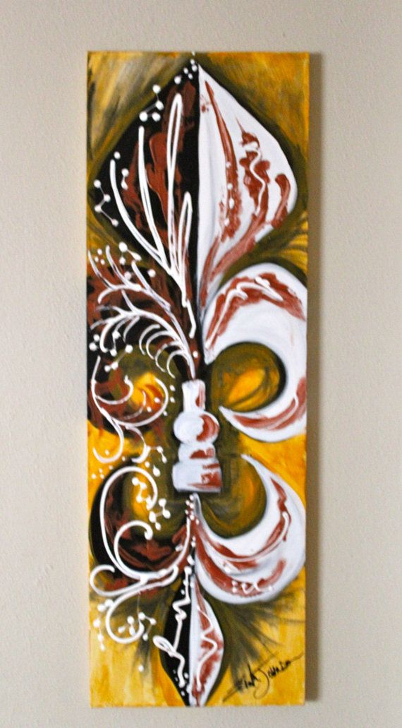 Who Dat Yellow Gold Fleur De Lis Painting by ErikaJohnsonGallery, $216.00