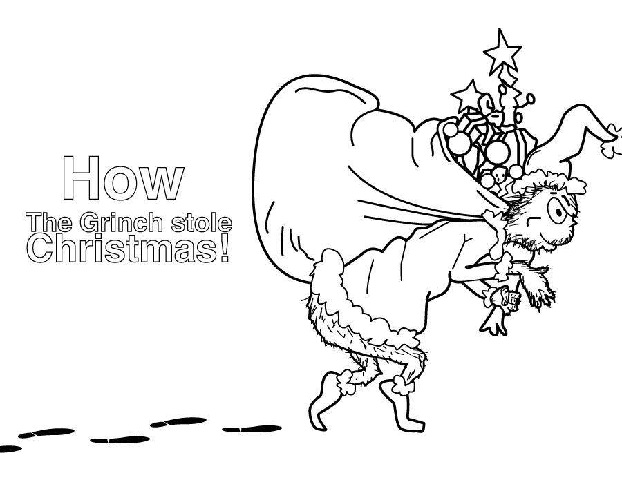 dessin à colorier le grinch vole noël  dessin a colorier