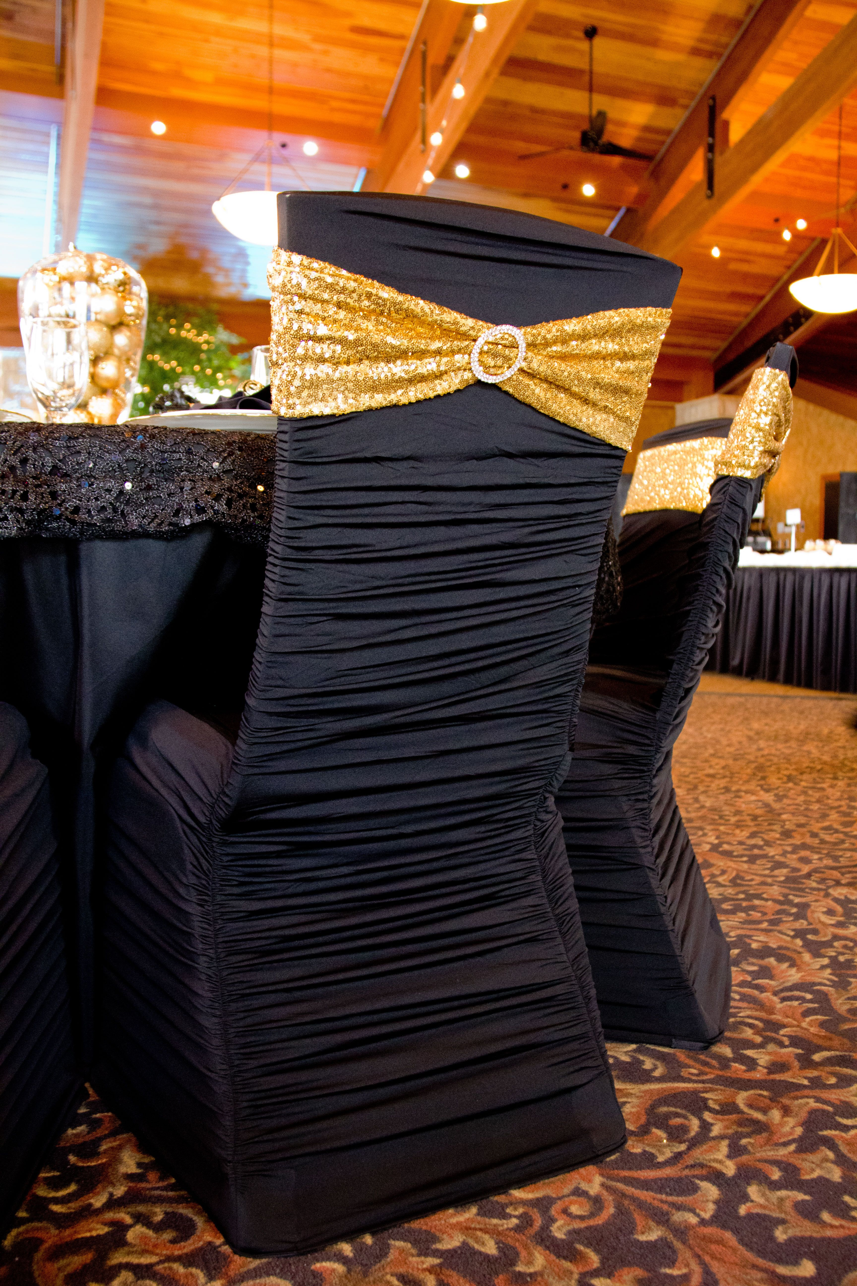 Black Ruched Chair Cover With Gold Sequin Spandex Chair Sash Chair Bands Gold Chair Covers Chair Covers Wedding