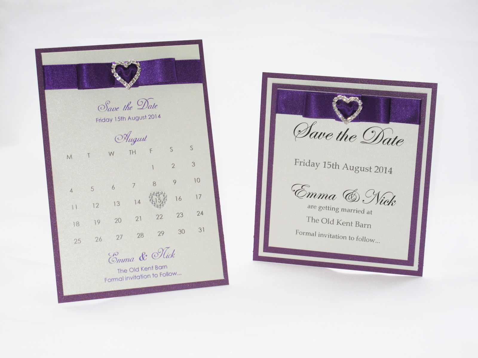 Cadbury Purple Wedding Invitations: Sweetheart Stationery Wedding Save The Dates Cadbury