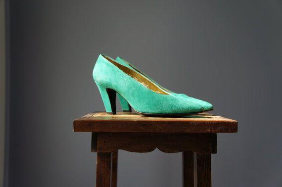 Vintage Green Escada Heels / Suede Pumps / by Sunnywood Vintage, $50.00