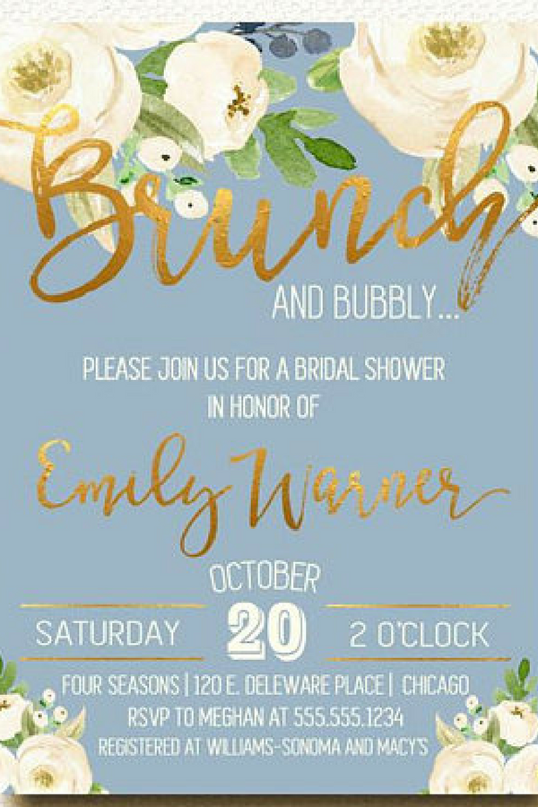 Bridal Shower Invitations Brunch And Bubbly Rose Gold Wedding