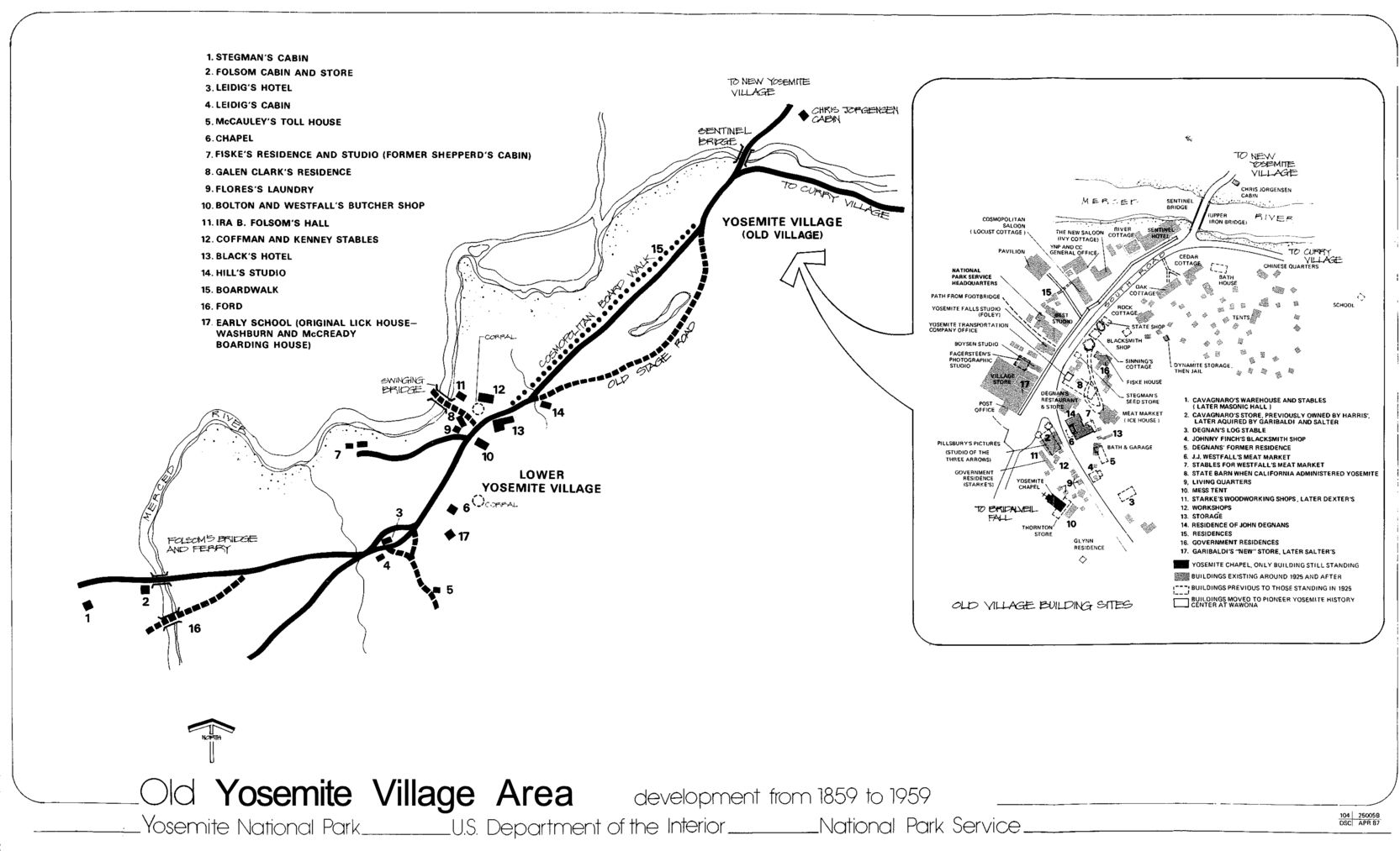 1959 map of Yosemite Valley and the yosemite village area ...