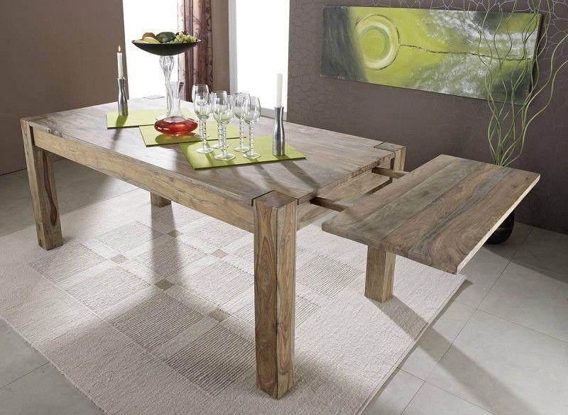 Esstisch mit Ansteckplatten Sheesham 180-220/260x90x76 grau geölt