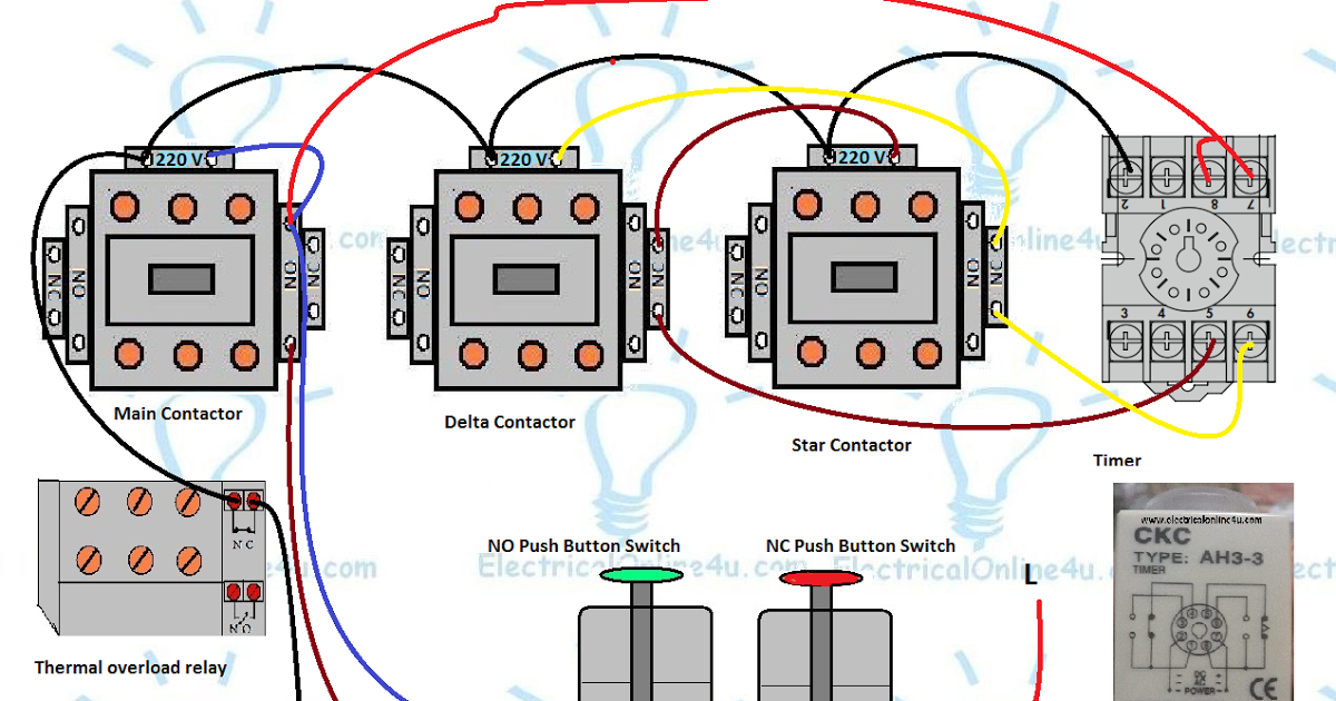 3 phase motor star delta control circuit diagram with 8 pin on delay timer,  normally open and normally close push button switches