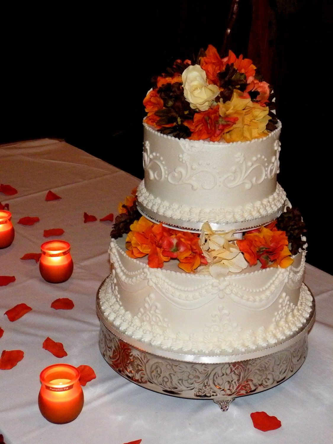 autumn themed wedding cake toppers a fall themed silk floral wedding cake topper with orange 10898