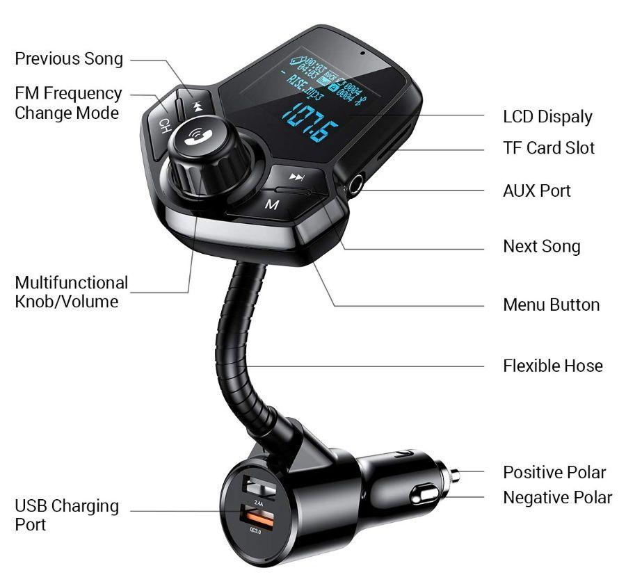 차량용 블루투스 Fm 트랜스미터 충전 핸즈프리 Ainope 4 99 블루투스 카드 충전기