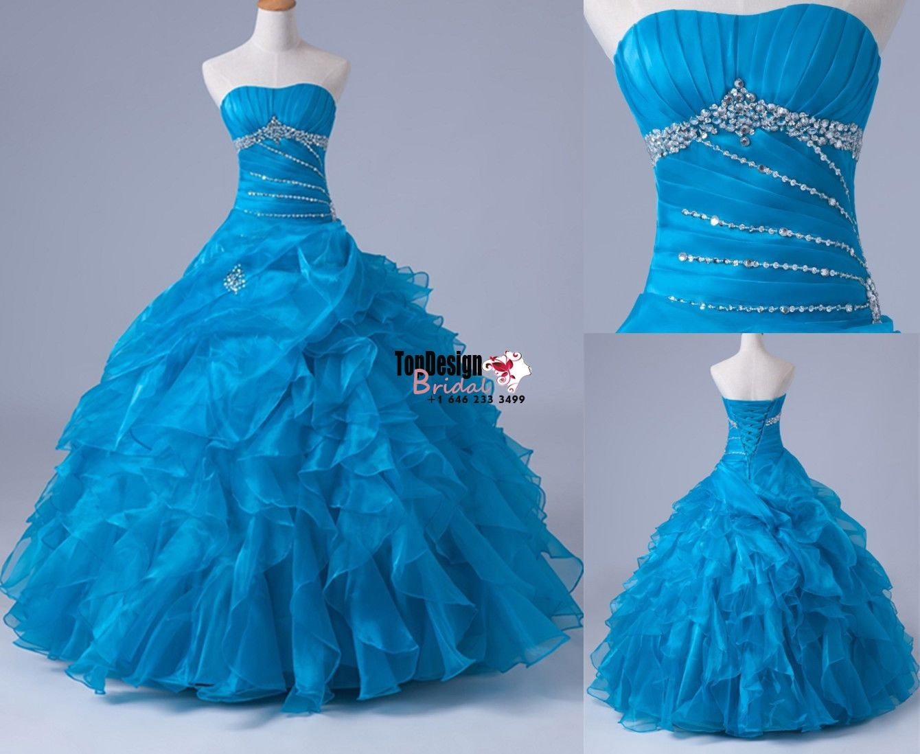 Wholesale 2017 Sweet 15 Dress Blue Beaded Ball Gown Quinceanera ...