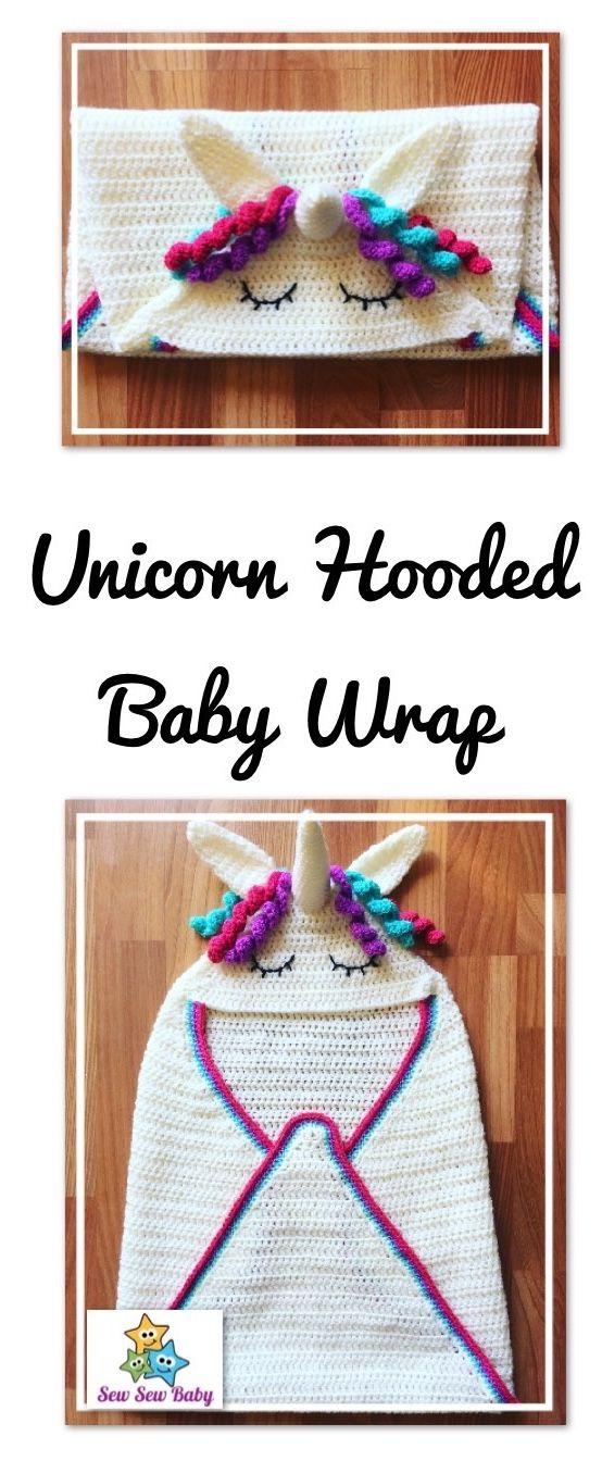 Unicorn Hooded Baby Wrap Blanket Crochet Pattern | Crochet | Pinterest