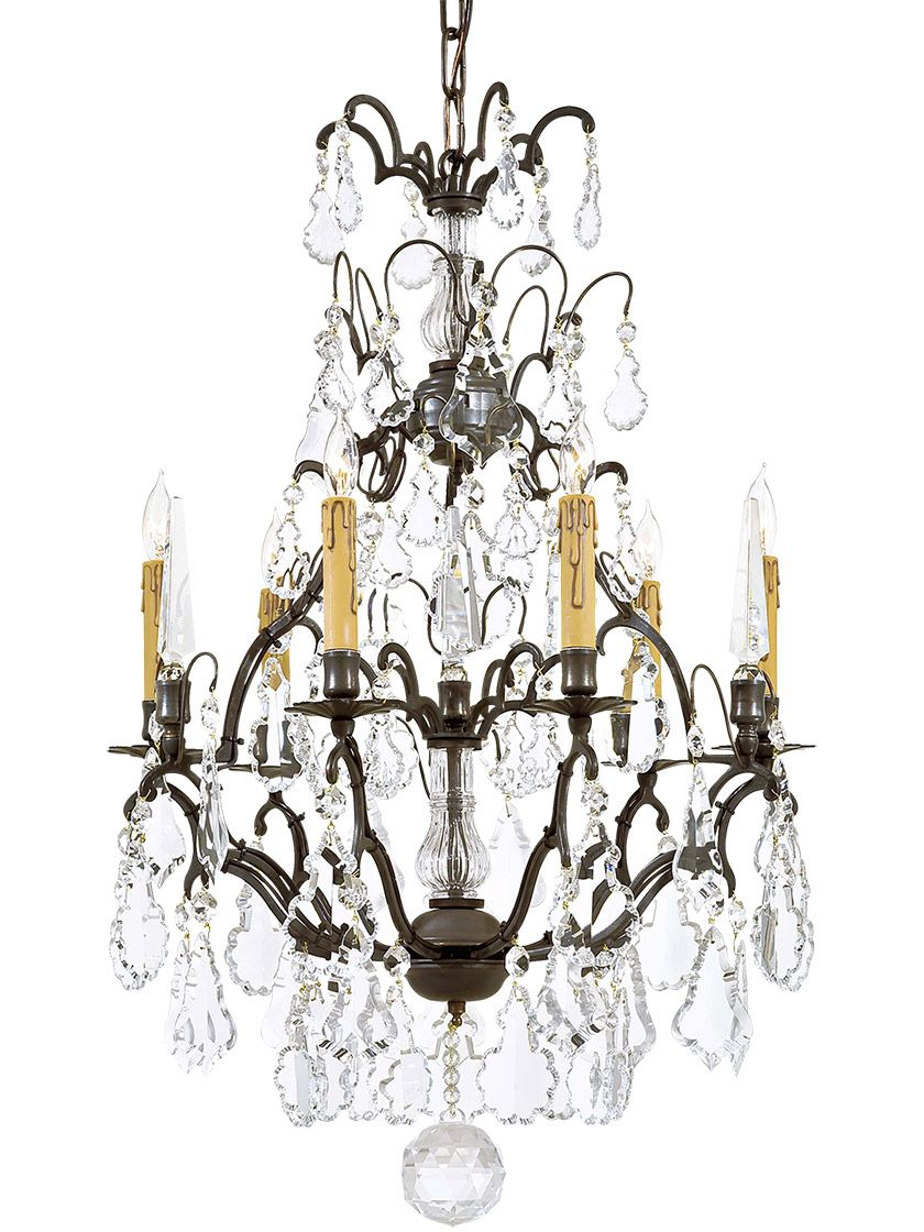 French Crystal 6 Light Chandelier With Patina Bronze Finish