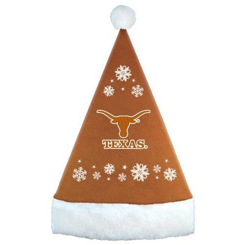 "NCAA Texas Longhorns Santa Hat by Topperscot. $18.56. Santa Hat is 17 1/4"" Tall. Embroidered with Team Name and Logo. Team Colored. Made of Soft-Poly Blend. NCAA University of Texas Longhorns Santa Hat"