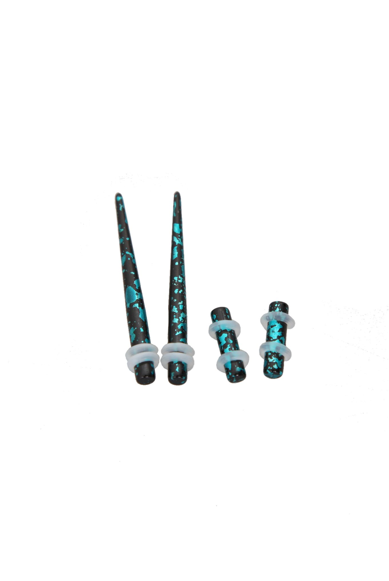 Hottopic Black And Teal Metallic Splatter Tapers And Plugs