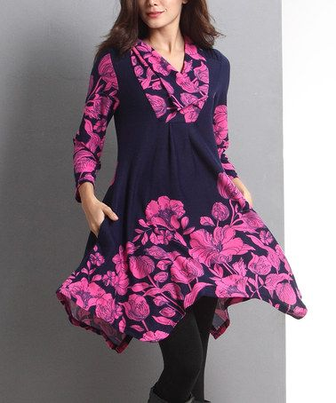 Look at this #zulilyfind! Navy Floral Shawl Collar Handkerchief Dress #zulilyfinds