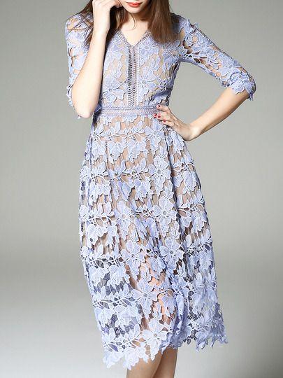 171cd349b2dd25 Purple V Neck Backless Crochet Hollow Out Dress Eyelet Lace