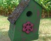 Rustic Birdhouse Wood Outdoor Garden Decor Vintage Pink Faucet Cottage Grass Green