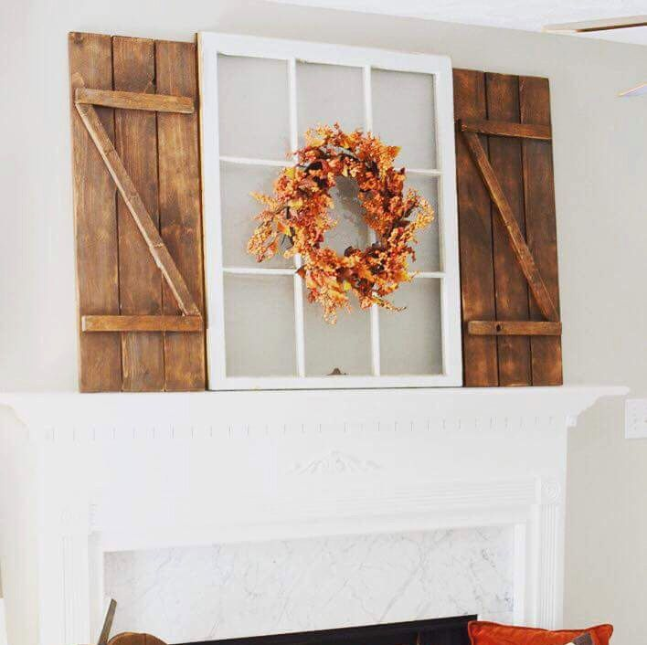 9 pane antique white frame WITH rustic shutters-Wood window picture ...