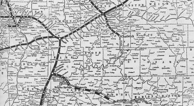 Frisco Railroad Map Of Southwest Missouri And Northwest Arkansas - Map of northern missouri